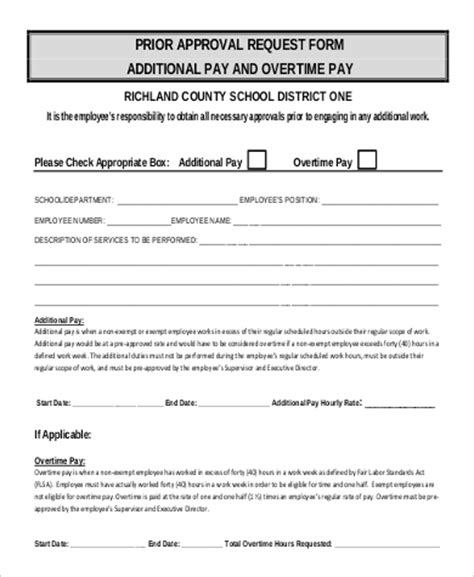 Request Letter For Approval Exle 9 sle overtime request form exles in word pdf