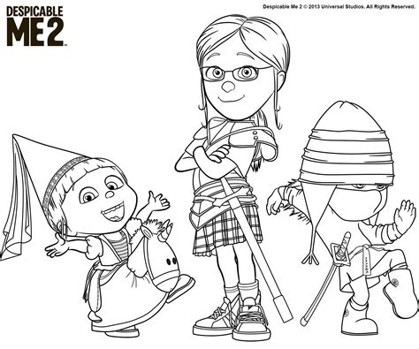 color me 2 despicable me coloring pages and print for free