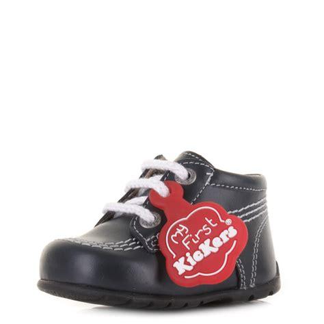 Boots Kickers 01 kickers kick hi b baby boys navy white black leather