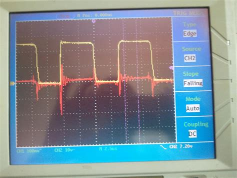 flyback diode oscilloscope noise ringing in ground of smps