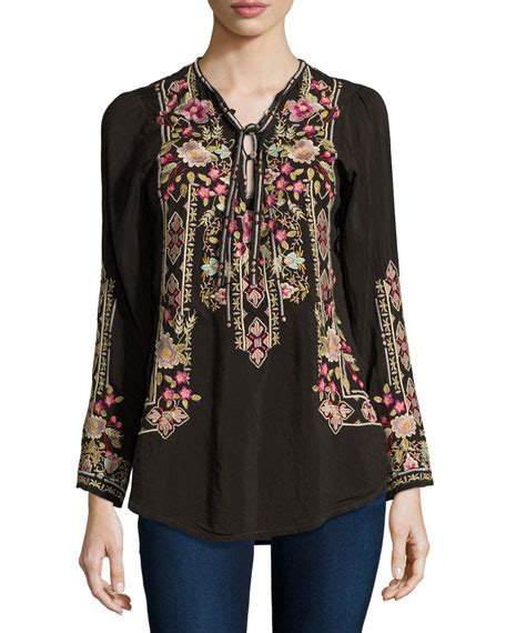 Embroided Blouse johnny was fabio embroidered blouse cocoa