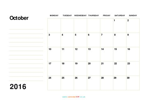 printable calendar uk 2016 october 2016 calendar free monthly calendar templates for uk