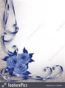illustration of wedding invitation blue roses