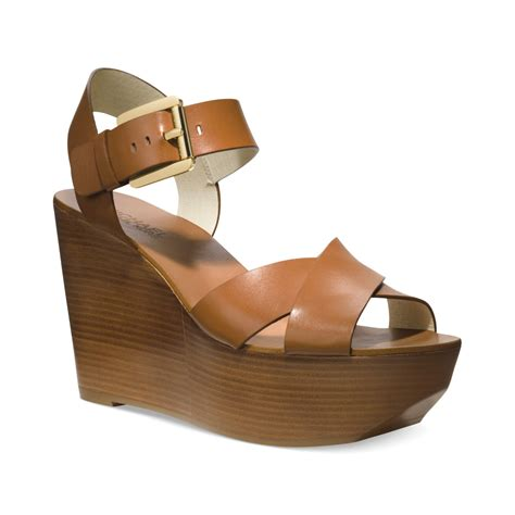 michael kors platform wedge sandals michael kors michael peggy platform wedge sandals in brown