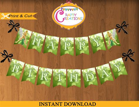 printable tinkerbell banner instant download tinkerbell banner printable happy