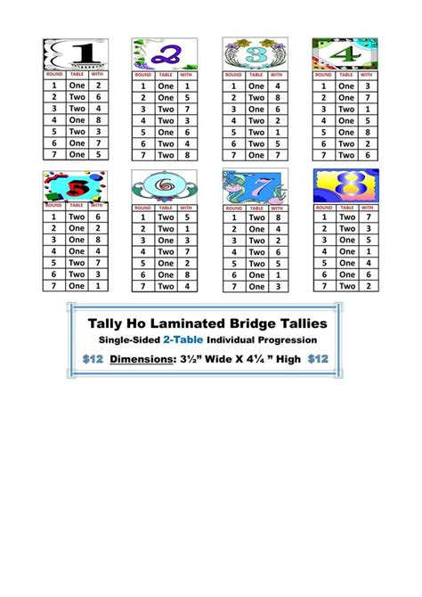 two table progressive tally 2 table laminated bridge tallies single sided 8 tallies