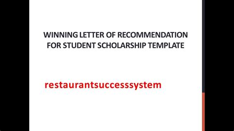 Scholarship Letter To Student winning letter of recommendation for student scholarship