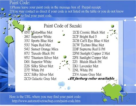 Suzuki Paint Colors Index Of Fourth Background