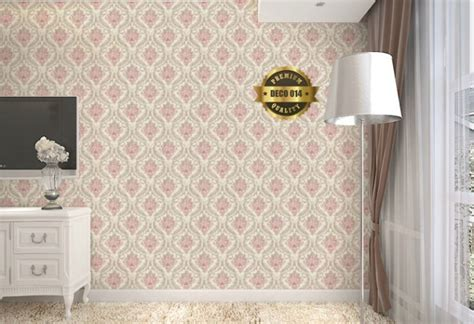 wallpaper dinding yang menarik wallpaper dinding 3d motif batik pink elegan 10