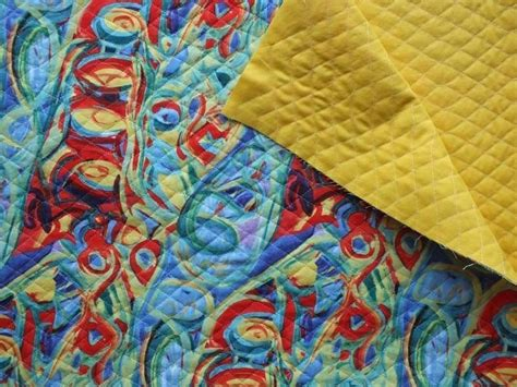 Pre Quilted Cotton Fabric by Doublefaced Reversible Pre Quilted Cotton Fabric Print