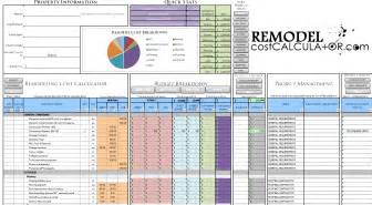 Home Renovation Budget Template Remodel Cost Calculator Spreadsheet Images Frompo