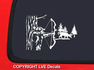 Bow Hunting Window Decals Bowhunter Taking Aim At Deer White Hunting Window Decal