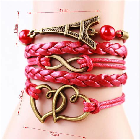 Gelang Color gelang vintage locked charm leather bracelet bangle