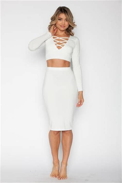 sleeve crop top and skirt set white