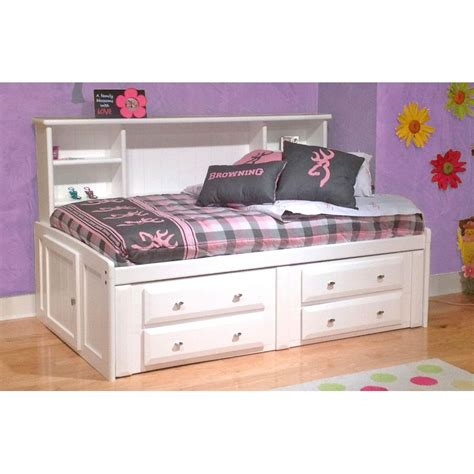 twin bed with storage and headboard laguna white twin roomsaver storage bed