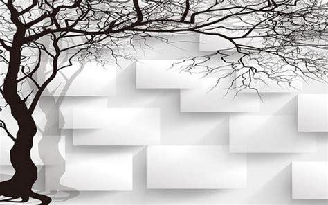 Wallpaper Sticker Motif Minimalis Black Square wall paper black and white tree box non woven wallpaper