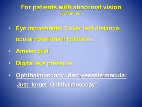 h pattern eye test routine office eye checks for general practitioners