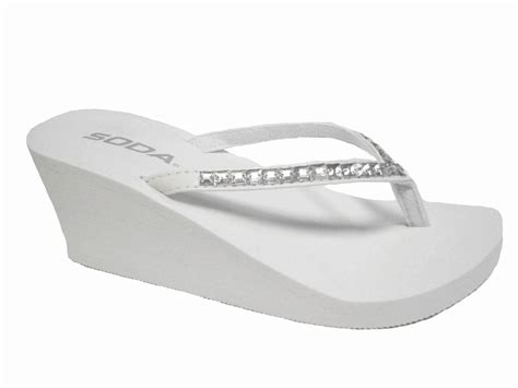 C73 My Flip 1 77 White white wedge rubber rhinestone bridal flip flops thongs