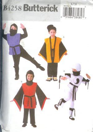 pattern for a ninja costume b4258 sold butterick pattern easy ninja costumes child