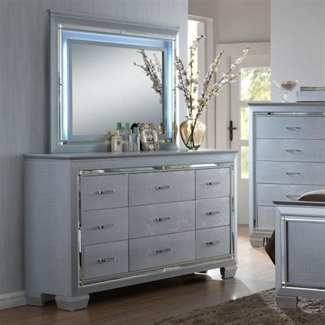 led bedroom furniture crown mark lillian dresser and mirror set with led