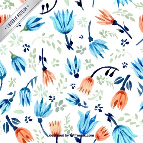 hand painted flower pattern hand painted flowers pattern vector premium download