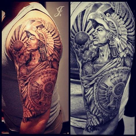 warrior tattoo sleeve designs aztek tattoos sleeve aztec warrior
