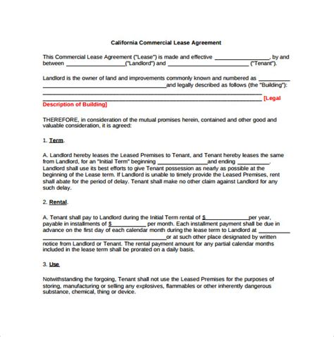 9 office lease agreement templates free sle exle