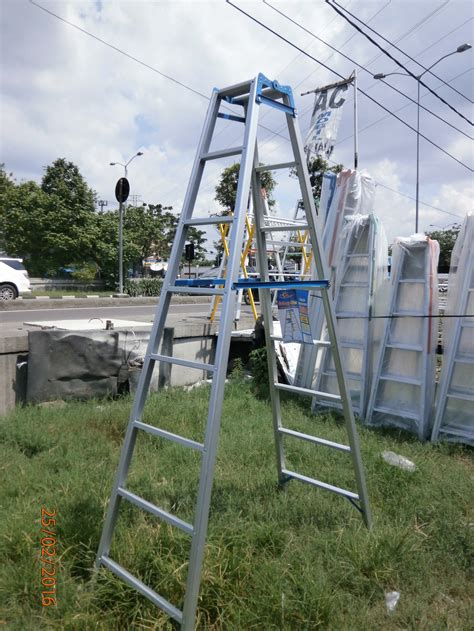 Tangga Multipurpose Alumunium 5 7 Meter Tangga Lipat Multi Purpose jual tangga lipat aluminium ukuran 3 meter malika jaya