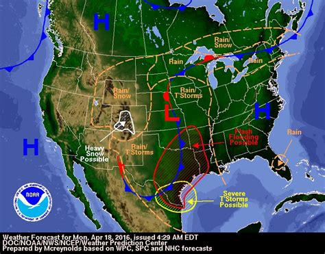 us weather outlook map forecast and severe outlook monday april 18th