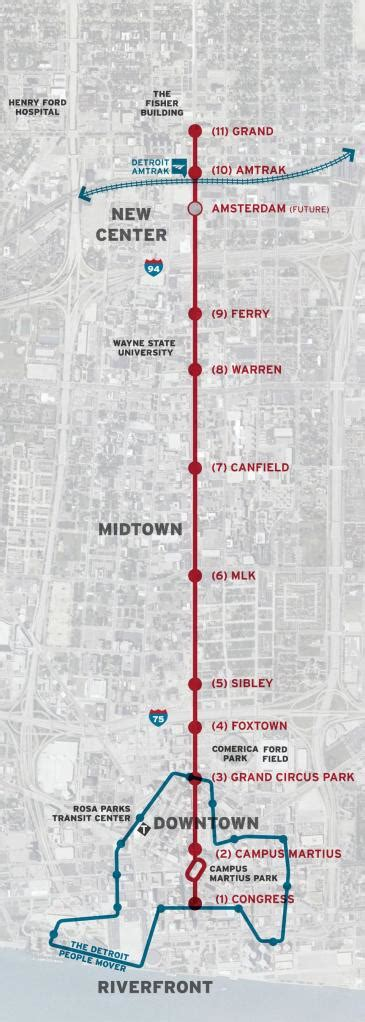 detroit people mover map it s really happening m 1 rail officially granted 25m