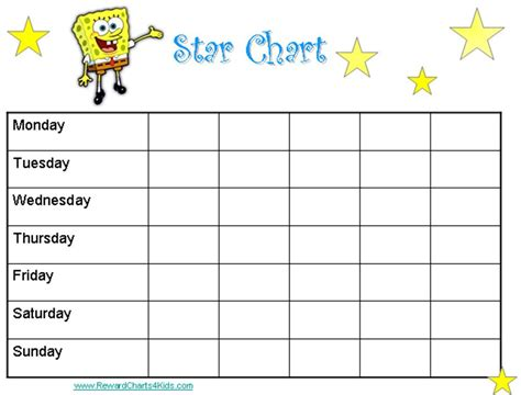 printable star reward chart spongebob reward chart