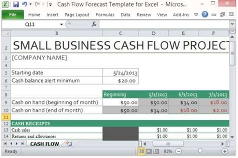 9 Cash Flow Excel Templates Excel Templates Flow Forecast Template