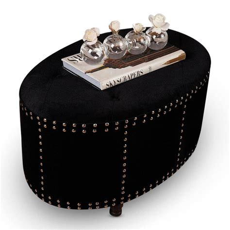 studded ottoman studded ottoman studded black oval ottoman for the home