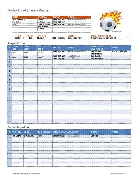 sports team roster template soccer roster template for excel