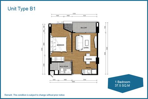 1 bedroom unit unit layout acqua condominium in pattaya thailand