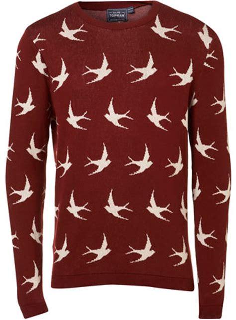 mens black patterned jumper burgundy swallow jumper patterned jumpers mens