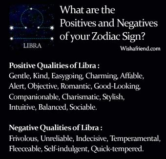 find positives and negatives of your zodiac sign libra