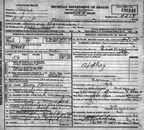 Birth Records Detroit Michigan Armenian On Web Armenian Immigration Project
