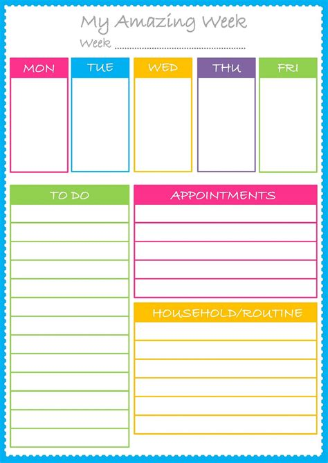 Colorful Printable Weekly Planner | free colorful planner pages best loving printable