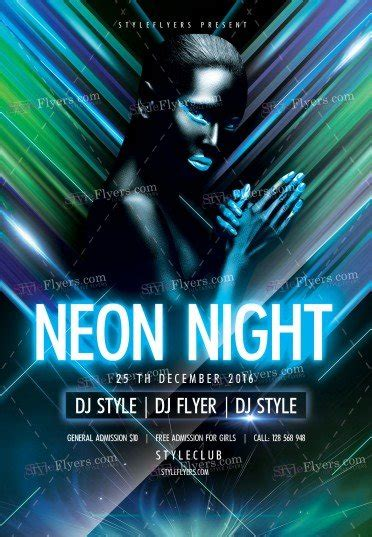 Neon Night Psd Flyer Template 13417 Styleflyers Neon Flyer Template Free