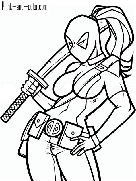 deadpool movie coloring pages deadpool coloring pages print and color com