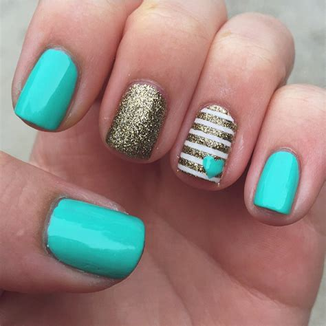 tiffany blue office on pinterest pedicure salon ideas tiffany blue nails with gold accents nailed it