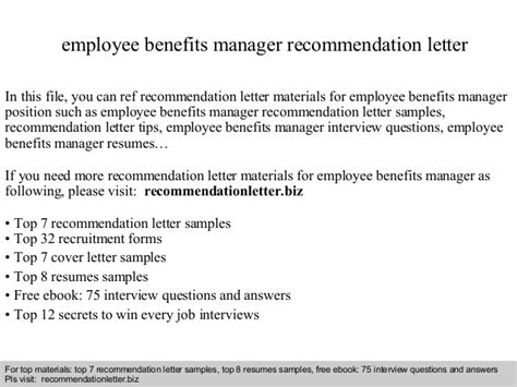 Recommendation Letter For Employee Benefits Employee Benefits Manager Recommendation Letter
