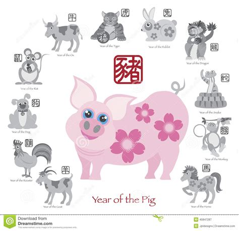 new year of the golden pig new year pig color with twelve zodiacs vector