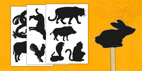 new year shadow puppet templates new year zodiac animals shadow puppet cut outs