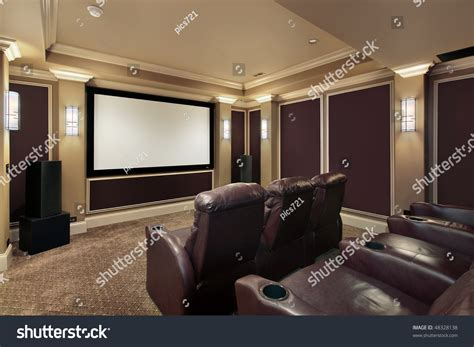 Theaters With Lounge Chairs by Theater Room Luxury Home Lounge Chairs Stock Photo