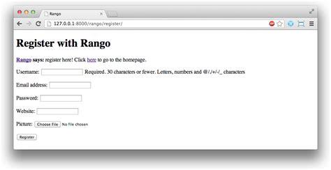 django tutorial rango 9 user authentication how to tango with django 1 7