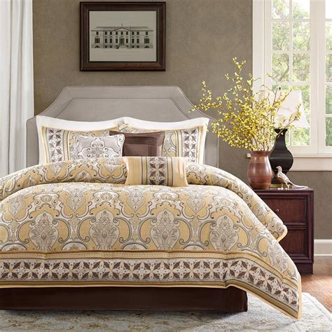 Beige Comforter Sets Queen Beautiful 7pc Modern Elegant Brown Gold Silver White Grey