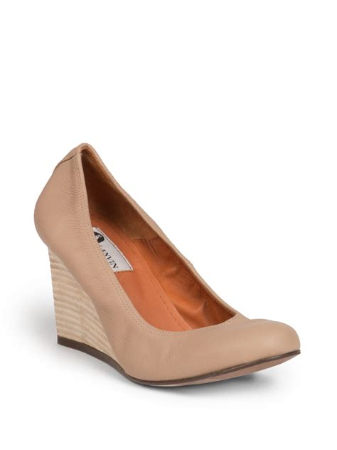 Wedge Pumps lanvin leather wedge pumps in lyst