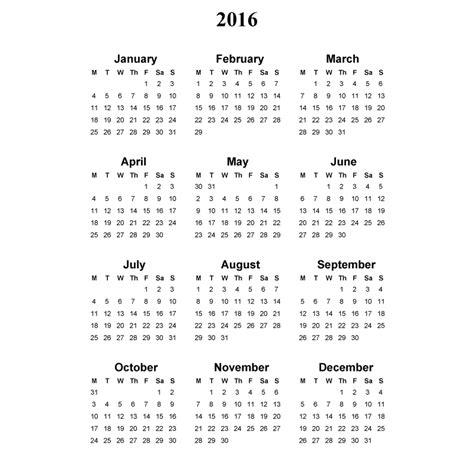 2016 Full Year Calendar Template